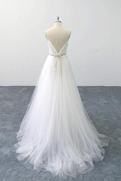 Chic Spaghetti Strap Appliques Tulle Wedding Dress_3