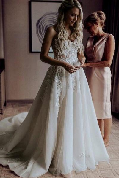 Spaghetti Strap A-line Applique Tulle Wedding Dress_5