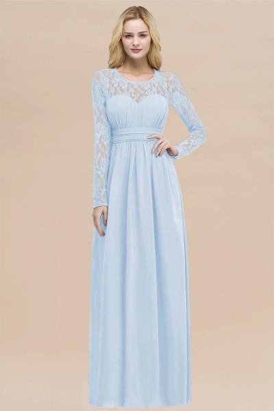 Elegant A-Line Chiffon Jewel Long Sleeves Ruffles Floor-Length Bridesmaid Dresses_23