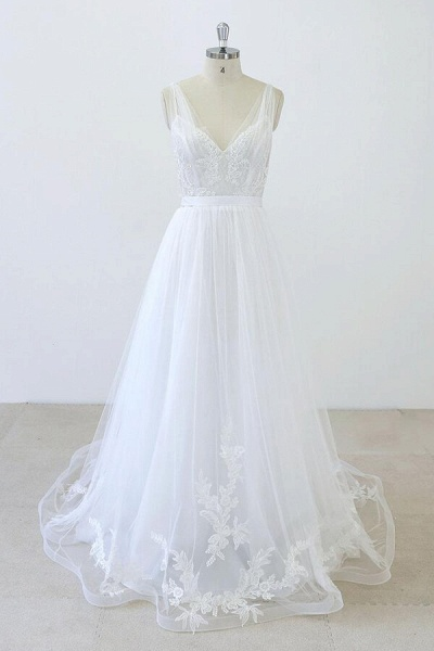 V-neck Ruffle Applqiues Tulle A-line Wedding Dress_1