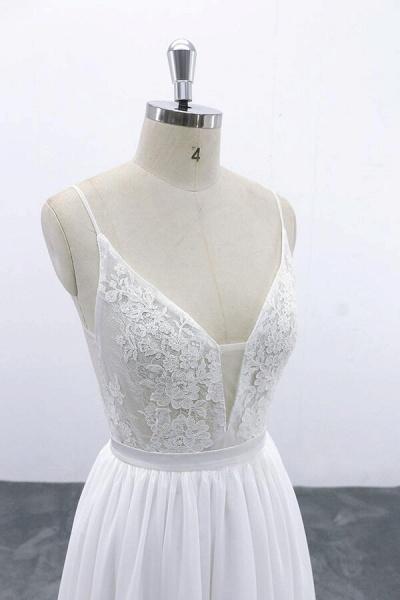 Spaghetti Strap Lace Chiffon A-line Wedding Dress_6