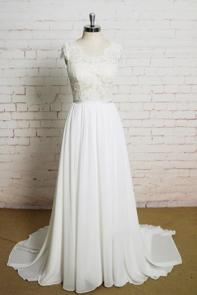 Lace Chiffon A-line Court Train Wedding Dress_1