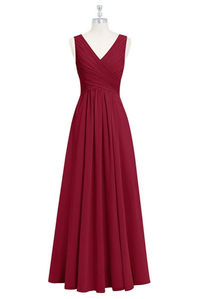V-neck Ruffle A-line Chiffon Bridesmaid Dress