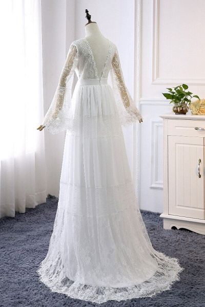 Empire Waist Long Sleeve Lace Tulle Wedding Dress_3