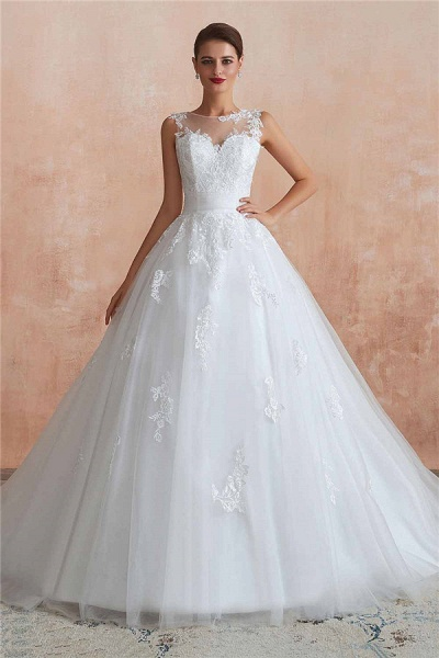 Amazing Illusion Appliques Tulle Wedding Dress_2