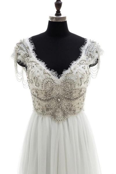 Amazing V-neck Beading Chiffon A-line Wedding Dress_4