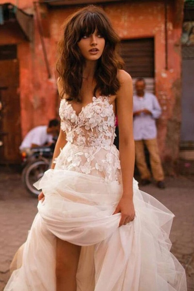 Amazing Appliques Tulle A-line Wedding Dress_1