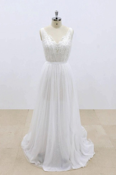 Amazing Ruffle Tulle Appliques A-line Wedding Dress_1