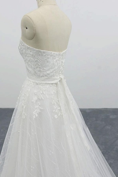 Strapless Tulle Chapel Train A-line Wedding Dress_7