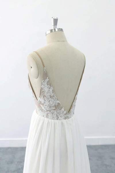 Graceful V-neck Lace Chiffon A-line Wedding Dress_7
