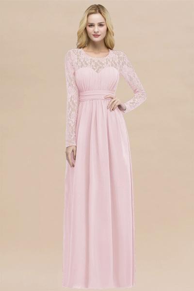 Elegant A-Line Chiffon Jewel Long Sleeves Ruffles Floor-Length Bridesmaid Dresses_3