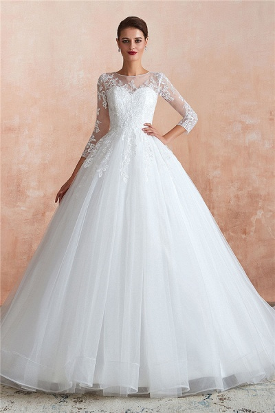 Wonderful Appliques Tulle A-line Wedding Dress