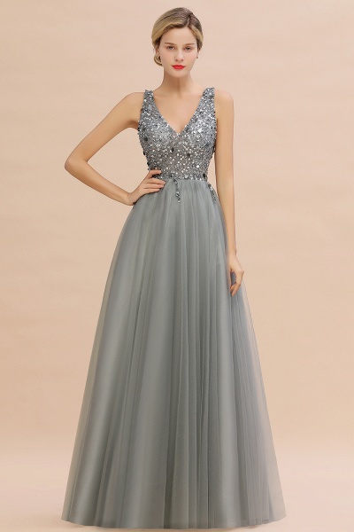Fabulous V-neck Tulle A-line Prom Dress_6