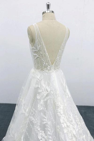 Elegant V-neck Appliques Tulle A-line Wedding Dress_8