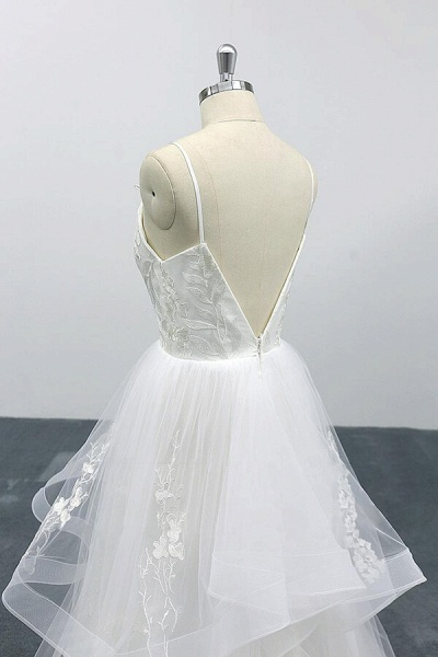 Best Appliques Spaghetti Strap Tulle Wedding Dress_7