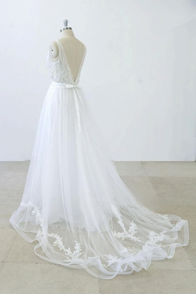 V-neck Ruffle Applqiues Tulle A-line Wedding Dress_4