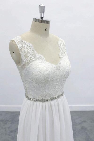 Awesome V-neck A-line Lace Chiffon Wedding Dress_6