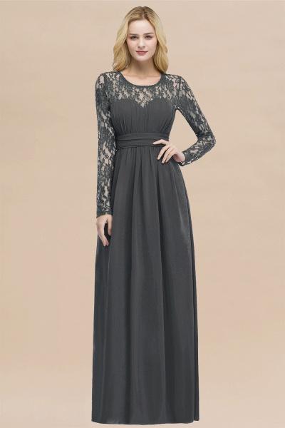 Elegant A-Line Chiffon Jewel Long Sleeves Ruffles Floor-Length Bridesmaid Dresses_46