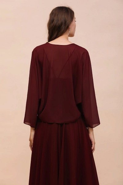 BM1088 Burgundy Long Sleeves Chiffon Special Occasions Wrap_2