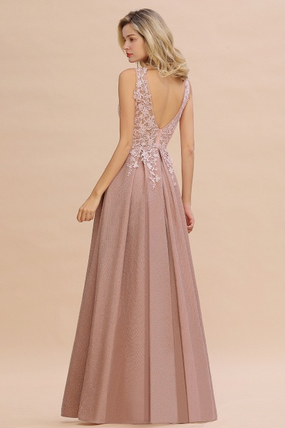 Attractive V-neck Lace A-line Evening Dress_19