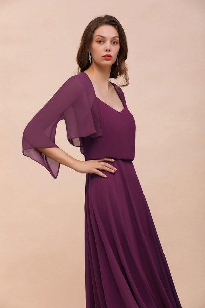 BM1089 3/4 Sleeves Grape Chiffon Special Occasions Wrap_6