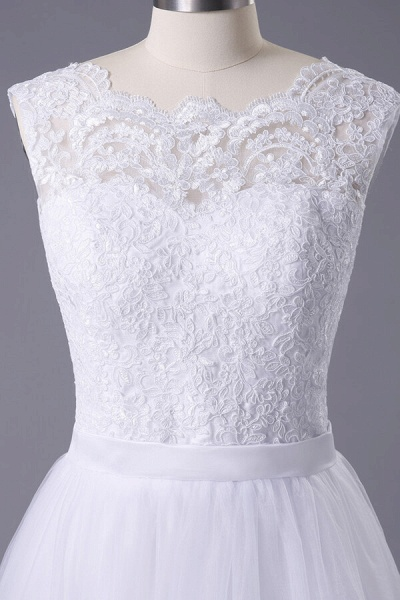 Chic Illusion Lace Tulle A-line Wedding Dress_4