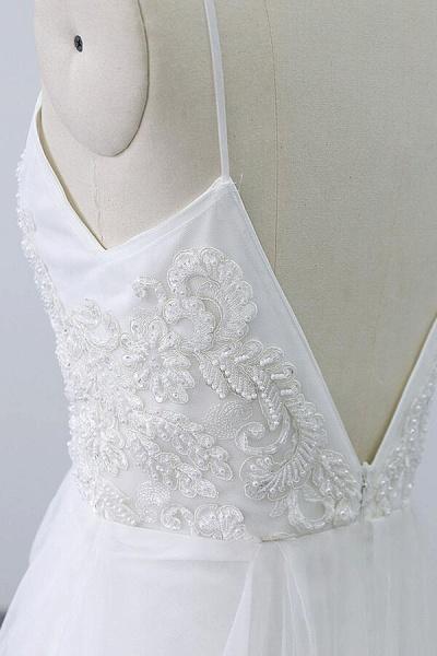 Chic Spaghetti Strap Appliques Tulle Wedding Dress_11