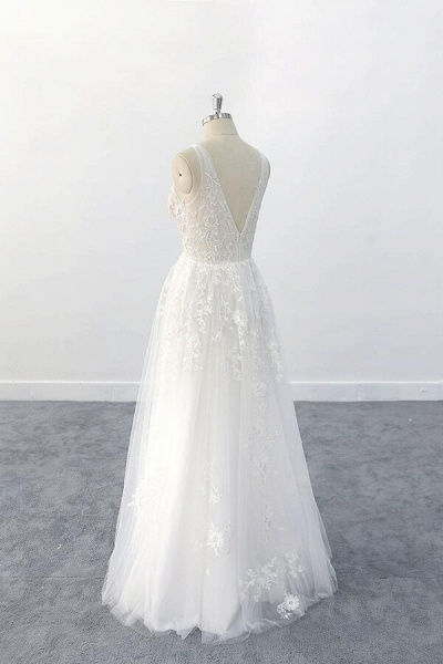 Elegant V-neck Appliques Tulle A-line Wedding Dress_6