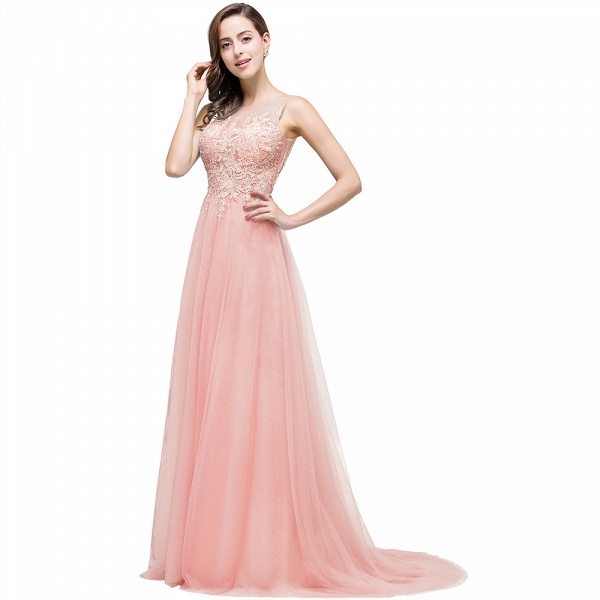 A-line Tulle Appliques Court Train Evening Dress_2