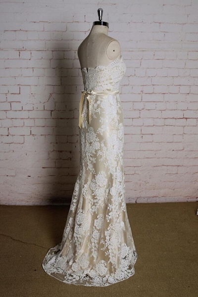 Strapless Appliques Tulle A-line Wedding Dress_4