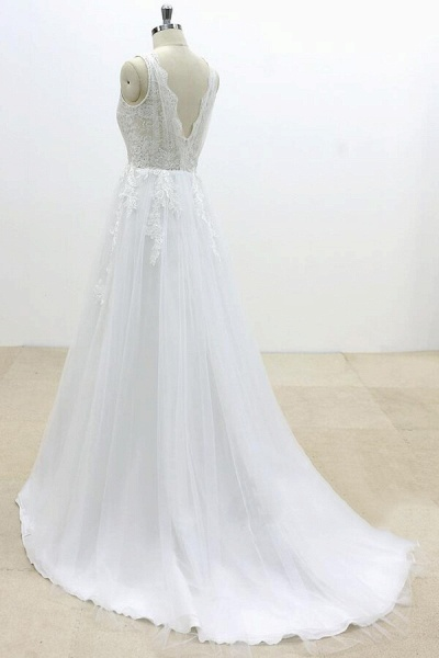 Ruffle V-neck Appliques Tulle A-line Wedding Dress_5