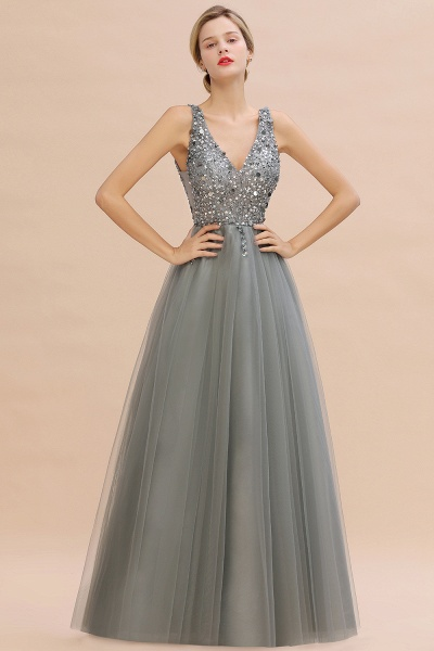 Fabulous V-neck Tulle A-line Prom Dress_11