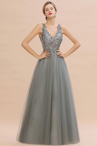 Fabulous V-neck Tulle A-line Prom Dress_12