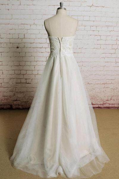 Awesome Strapless Lace Tulle A-line Wedding Dress_3