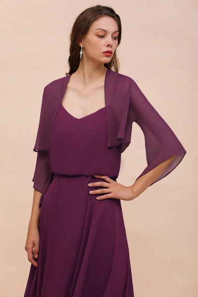 BM1089 3/4 Sleeves Grape Chiffon Special Occasions Wrap_1