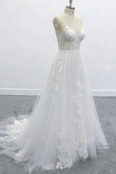 Best Spaghetti Strap Appliques Tulle Wedding Dress_4