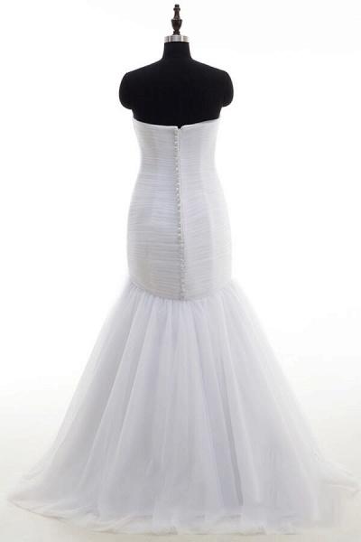 Strapless Ruffle Tulle Mermaid Wedding Dress_3