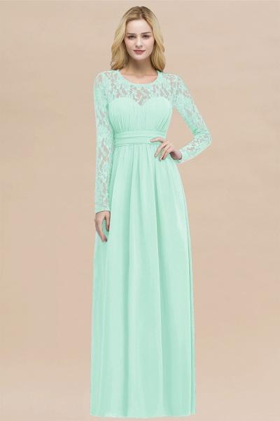 Elegant A-Line Chiffon Jewel Long Sleeves Ruffles Floor-Length Bridesmaid Dresses_36