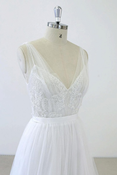 V-neck Ruffle Applqiues Tulle A-line Wedding Dress_6