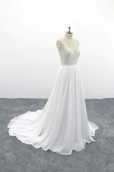 Spaghetti Strap Lace Chiffon A-line Wedding Dress_4