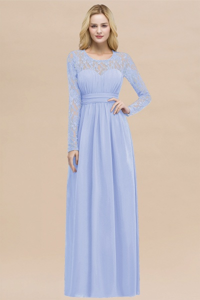 Elegant A-Line Chiffon Jewel Long Sleeves Ruffles Floor-Length Bridesmaid Dresses_22