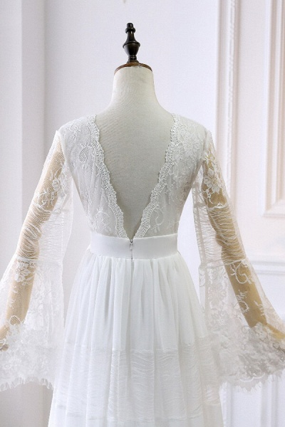 Empire Waist Long Sleeve Lace Tulle Wedding Dress_5