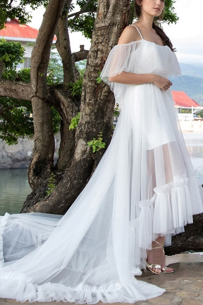 Awesome Cold-shoulder Tulle High-low Wedding Dress_4