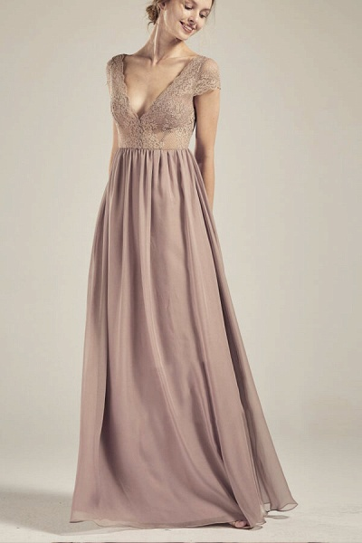 Cap Sleeve V-neck Lace Chiffon A-line Wedding Dress_1