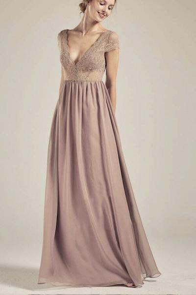 Cap Sleeve V-neck Lace Chiffon A-line Wedding Dress_1