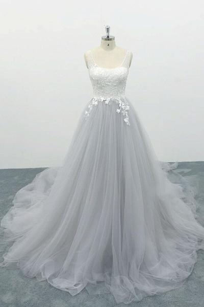 Square Neck Appliques Tulle A-line Wedding Dress_1
