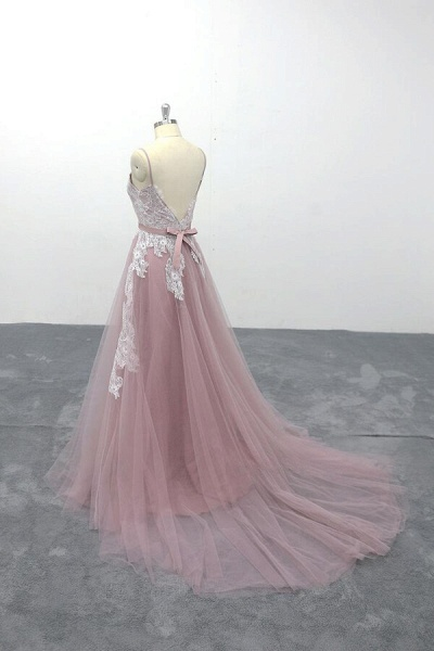 Lace Tulle Spaghetti Strap A-line Wedding Dress_5