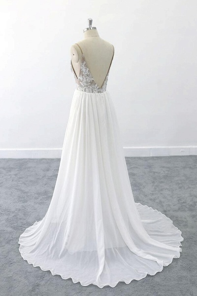 Graceful V-neck Lace Chiffon A-line Wedding Dress_5