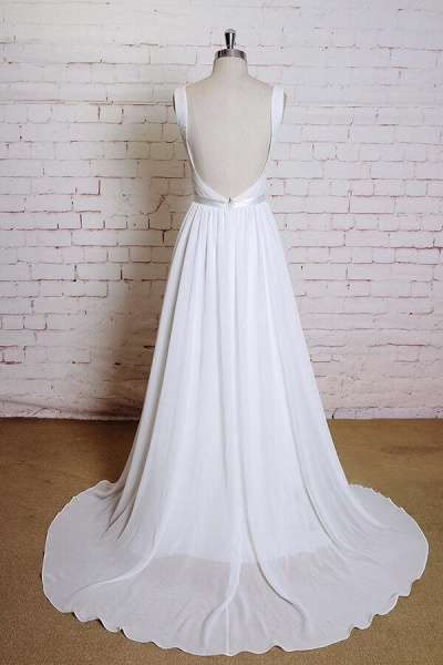 Square Neck Lace Chiffon A-line Wedding Dress_3
