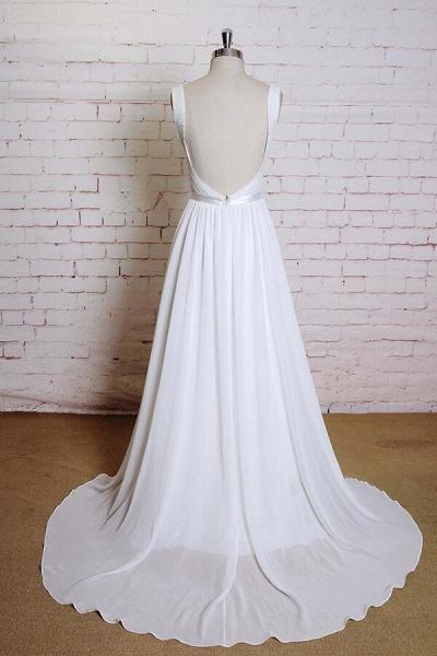 Square Neck Lace Chiffon A-line Wedding Dress_3